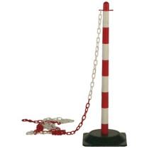 Tartóoszlop lánchoz, 90 cm magas, gumitalppal piros-fehér